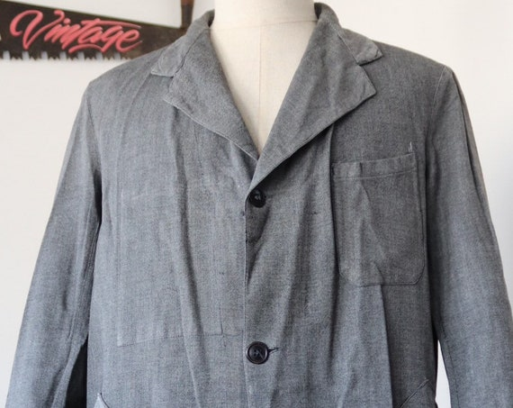 "Vintage 1940s 40s 1950s 50s french salt and pepper grey long chore work jacket duster coat repaired darned 44"" chest workwear factory"