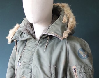 """Vintage 1960s 60s USAF us Air Force N-3B N3B khaki green snorkel parka jacket distressed extreme cold weather 44"""" chest military"""