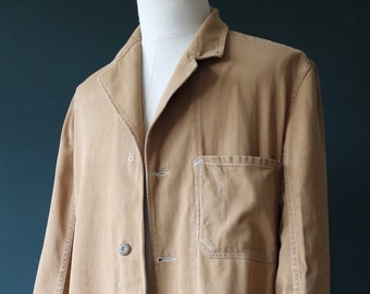 """Vintage 1930s 30s 1940s 40s Carhartt brown cotton twill workwear work chore overall coat jacket 44"""" chest workshop"""