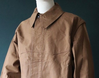 """Vintage 1970s 70s deadstock French SNCF railway railroad engineer jacket work chore workwear 52"""" chest duck cotton canvas chin strap XL"""