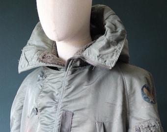 "Vintage 1950s 50s USAF us Air Force N-3B N3B khaki green snorkel parka jacket Albert Turner distressed extreme cold weather XL 52"" chest"