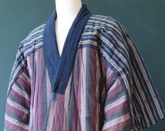 Vintage antique 1900s 1910s 1920s Japanese ceremonial boro kimono indigo stripe striped wool padded robe dressing gown house coat