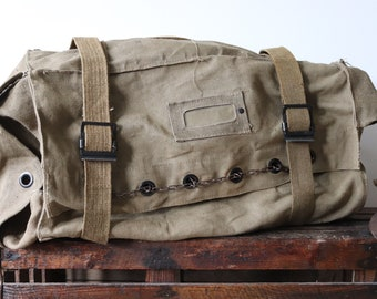 Vintage 1970s 70s 1980s 80s cotton canvas large Italian army military kit duffle duffel bag luggage security chain