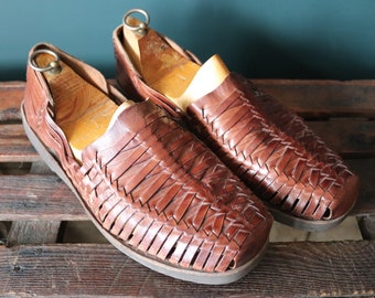 Vintage brown plaited leather Huarche sandals Huarches Hurrache summer US 11 UK 10.5 EUR 44 surf beach