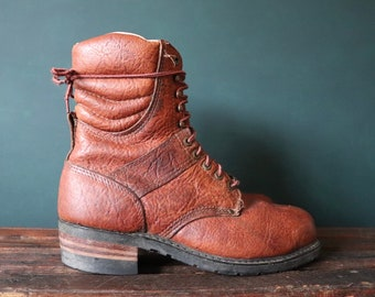 Vintage Carolina Gold brown leather logger boots lace up UK 9.5 US 10 insulated Chippewa linesman