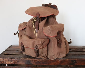 Vintage 1960s 60s french brown canvas leather metal frame walking hiking camping backpack rucksack