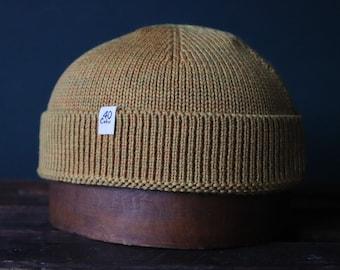 40 Colori 100% wool fisherman's beanie hat watch cap ochre yellow