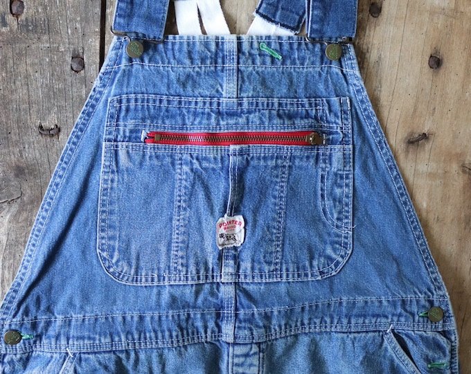 "Featured listing image: Vintage 1970s 70s Pointer indigo blue denim overalls dungarees low x back workwear 38"" x 29"" bib and brace rockabilly unisex mens womens"