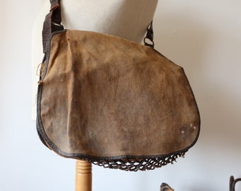 Vintage 1930s 30s french canvas leather hunting fishing shooting game shoulder bag net work workwear
