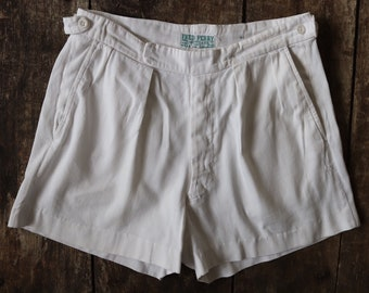 """Vintage 1950s 50s original Fred Perry white cotton tennis sports shorts sportswear 30"""" waist mod button fly made in England"""