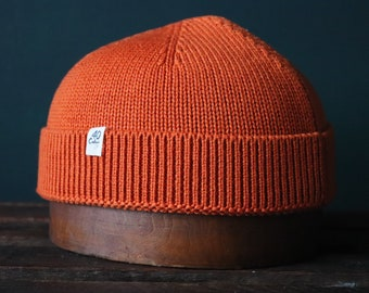 40 Colori 100% wool fisherman's beanie hat watch cap orange