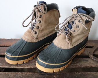 Vintage Lake n Trail duck hunting boots leather rubber rain snow winter US 9