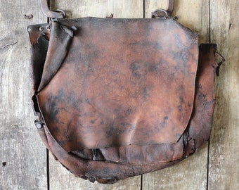 Vintage 1970s 70s Bona Allen brown leather American US mail bag destroyed distressed project repair harvest