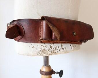 "Vintage 1950s 50s brown leather shotgun cartridge belt hunting military 32"" 34"" 36"" 38"" theatre costume reenactment"