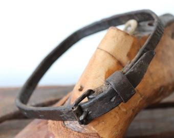 """Vintage antique french leather hunting dog collar pet lurcher greyhound hound 12.5"""" - 18"""" work workwear"""