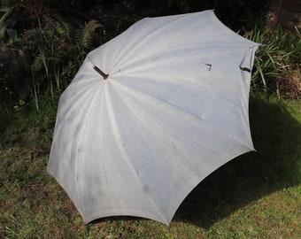 Vintage 1900s french sun faded indigo blue shepherd's work parasol workwear chore bleu de travail garden picnic