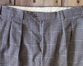 """Vintage 1980s 80s does 1950s 50s houndstooth dogtooth check cuffed trousers pants pleated drop loop 34"""" x 32"""" carrot"""