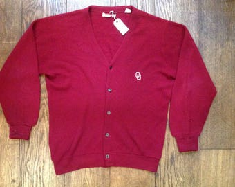 "Vintage 1970s 70s red burgundy Izod OU cardigan sweater button up Ivy League style 48"" chest mod Orlon made in USA"