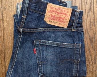 b5ec63218a0 Vintage Levis LVC 505 indigo blue denim jeans big capital e red tab selvedge  29