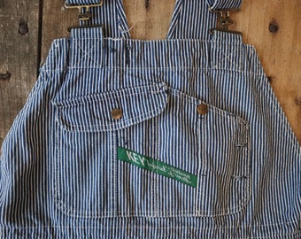 "Vintage 1980s 80s Key Imperial denim hickory engineer stripe striped overalls dungarees workwear work chore 44"" x 29"" unisex XXL railroad"