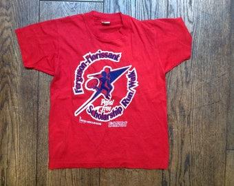 Vintage 1980s 80s kids childrens red Pepsi Missouri Bank t shirt sports print Screen Stars 50/50