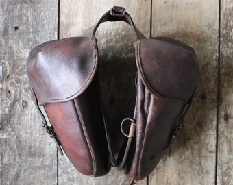 Vintage antique 1900s 1910s French WW1 era brown leather military panniers saddle bags cavalry cycling bicycle bike motorcycle motorbike