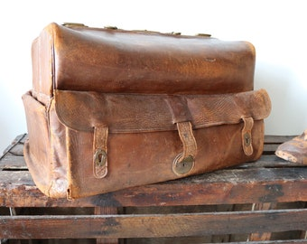 Vintage antique 1900s large brown leather travel luggage bag case monogrammed