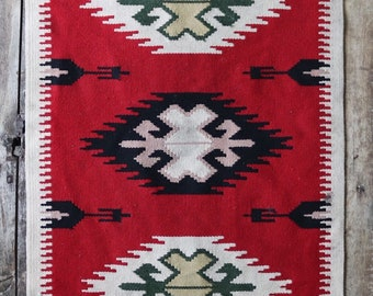 "Vintage red black white south western hand woven wool rug wall hanging serape Native American weaving 26.5"" x 54.5"" kilim"