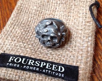 Pewter skull face Fourspeed ring UK size N men's women's chunky heavyweight biker motorcycle rugged