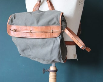 Vintage 1940s 40s deadstock Swedish army military bicycle cycle corps M-39 M39 backpack rucksack canvas leather hiking