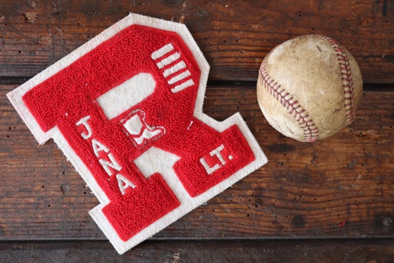 Vintage 1990s 90s chenille patch Letterman sports american high school college track field sportswear jacket R Jana cheerleader
