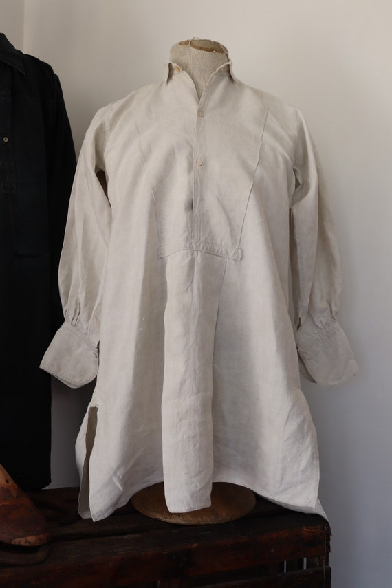 """Vintage 1900s 1910s french white linen dress shirt pin tuck pleated 40"""" chest"""