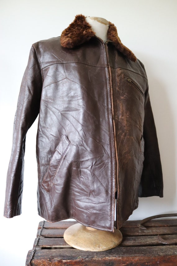 "Vintag 1940s 40s french brown leather jacket Canadienne 50"" chest mouton collar lining damaged repair project"