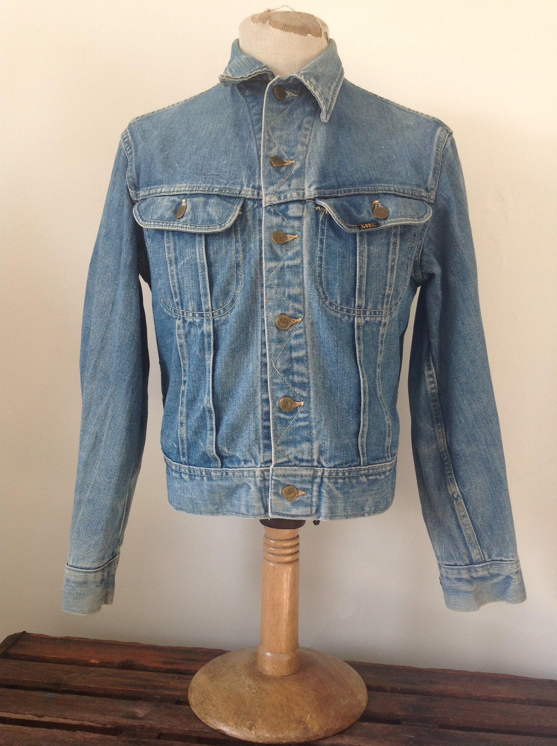 c462bed5 Vintage 1970s 70s Lee 101 denim trucker jacket work workwear chore 42 chest Union  Made sanforized made in USA