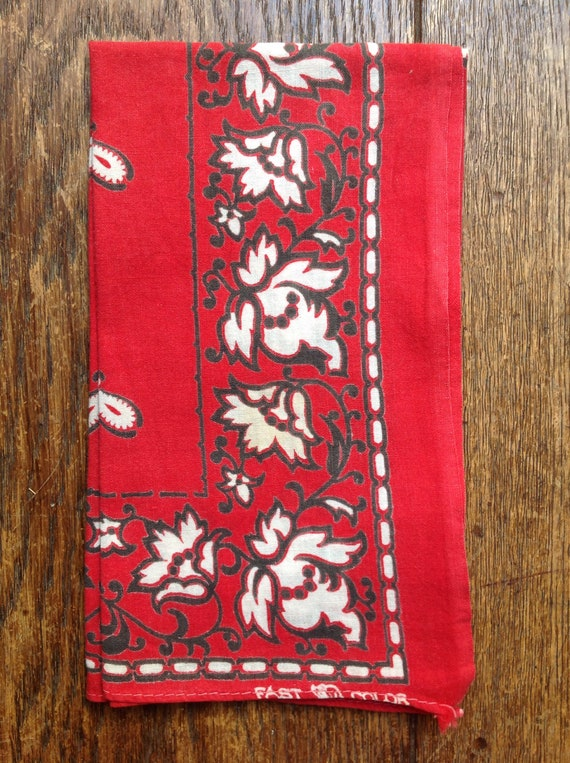 Vintage 1940s 40s 1950s Elephant Brand trunk down turkey red cotton bandana western cowboy color fast made in USA rockabilly