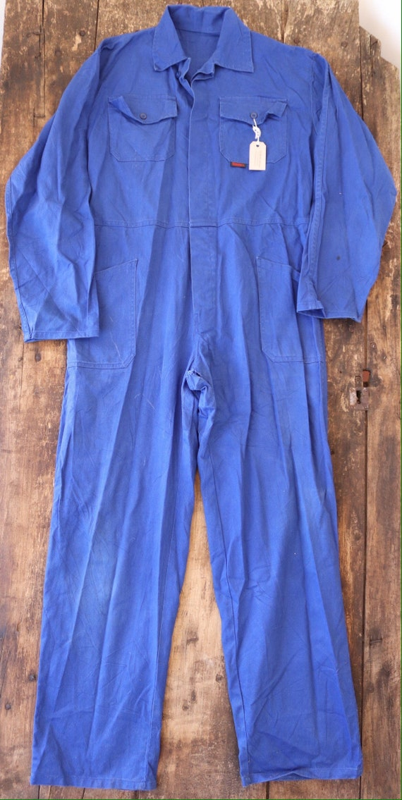 """Vintage french blue blue de travail overalls coveralls workwear factory farm 52"""" chest 40"""" x 33"""" cotton twill"""