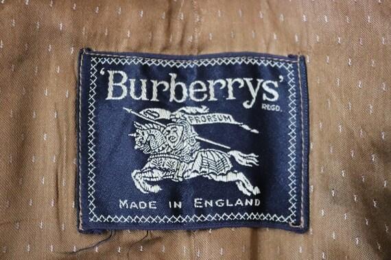 """Vintage 1960s 60s tan brown beige grey gabardine Burberry rain over coat 47"""" chest"""