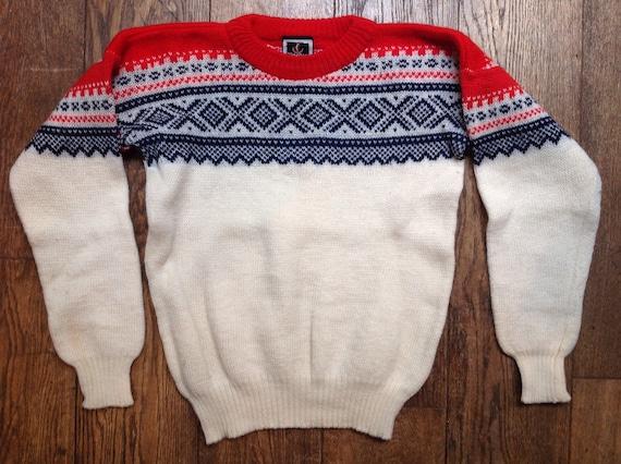"""Vintage 1980s Nesjar Norwegian red white blue knitted wool jumper sweater 42"""" chest ski"""