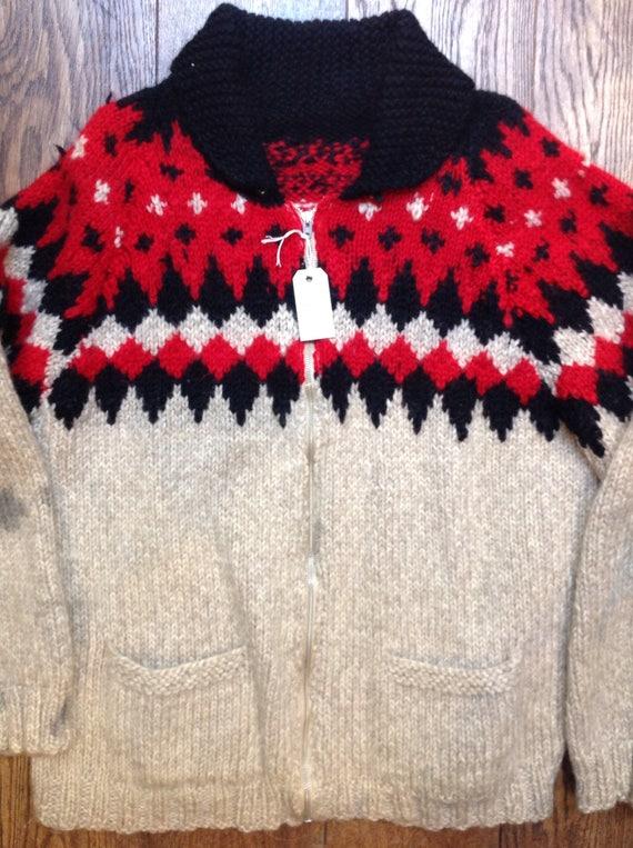 "Vintage grey black red 1960s 60s wool handknitted cowichan sweater cardigan Lightning zipper 50"" chest Icelandic diamond"