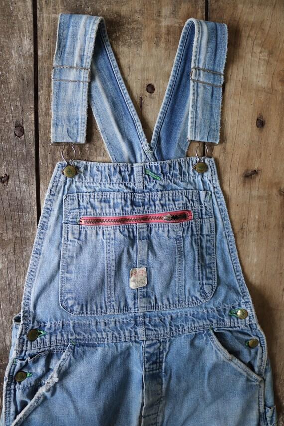 """Vintage 1980s 80s pale blue denim Pointer overalls dungarees bib brace 33"""" x 30"""" workwear work chore rockabilly"""