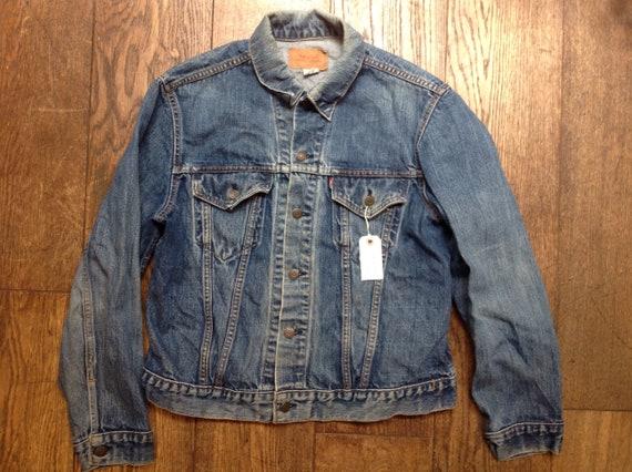 "Vintage 1980s 80s Levis Strauss type three red tab denim jacket indigo workwear trucker small e 44"" chest 76506 made in USA"