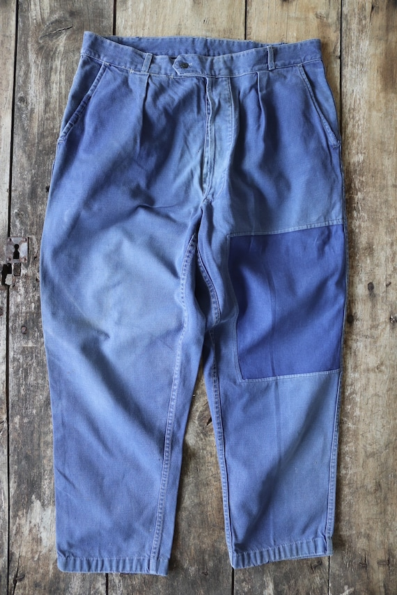 """Vintage 1950s 50s french indigo blue cotton twill work trousers pants workwear chore 35"""" x 27"""" patched darned"""
