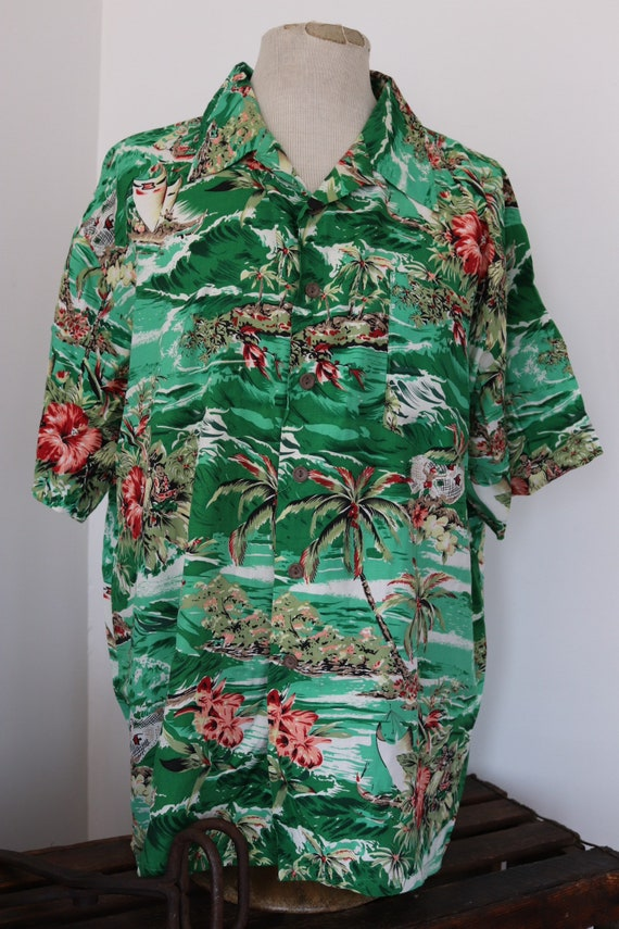 "Vintage Kennington green white rayon surf surfer patterned Hawaiian tiki shirt XXL rockabilly 54"" chest palm tree"