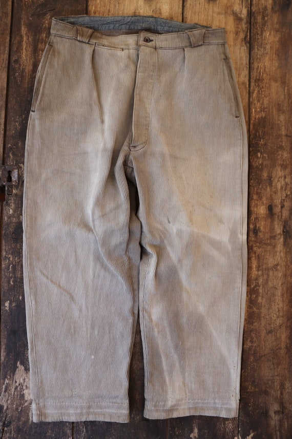 """Vintage 1950s 50s grey french pique corduroy hunting work trousers pants workwear 34"""" x 26"""" button fly"""