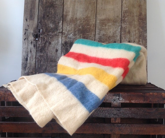 "Vintage 1950s 50s Hudson Hudsons Bay Witney blanket throw wool white striped double bed sofa classic car cabin lodge camping 68"" x 73"""
