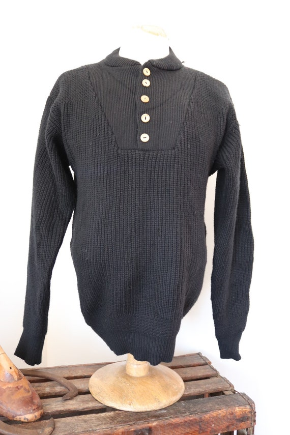 """Vintage 1990s 90s Campus black chunky knit knitted acrylic jumper sweater quarter collar 42"""" chest Ivy League style"""