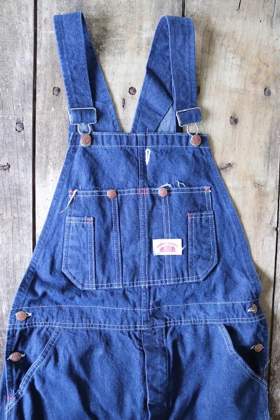 """Vintage 1980s 80s indigo blue denim Round House overalls dungarees bib brace 33"""" x 32"""" workwear work chore rockabilly"""
