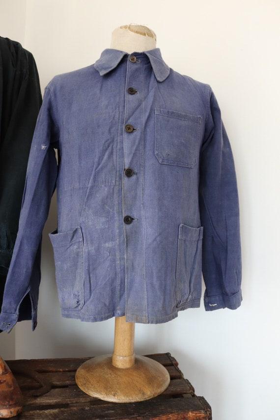 "Vintage 1950s 50s french blue bleu de travail indigo cotton twill chore work jacket workwear 41"" chest repaired (14)"