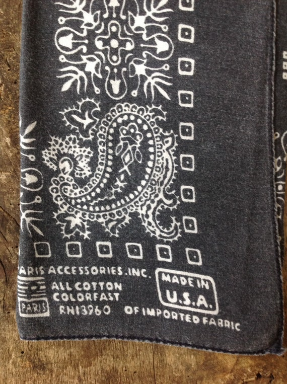 "Vintage faded black cotton bandana western rockabilly pocket square color fast paisley RN13960 19.5"" x 20"""
