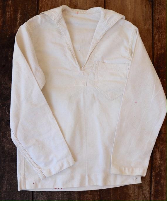 "Vintage 1950s 50s US Navy USN naval white cotton crackerjack bib top 34"" chest small sailor seaman"